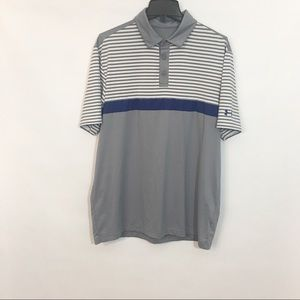 Under Armour Gray Stripe Polo Shirt Size Large